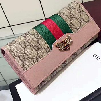 Gucci classic tide card wild simple generous leather wallet F-MYJSY-BB Pink