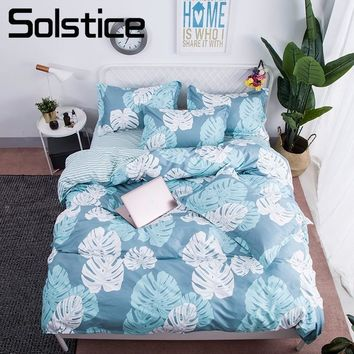 Solstice Home Textile Banana Leaf Light Blue Bed Linen Boy Kid Teen Bedding Sets 3-4Pcs Girl Childs Duvet Cover Sheet Pillowcase