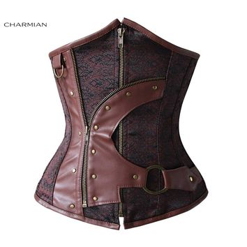 5486005e4a3 Charmian Gothic Steampunk Corset for Women Steel Boned Underbust