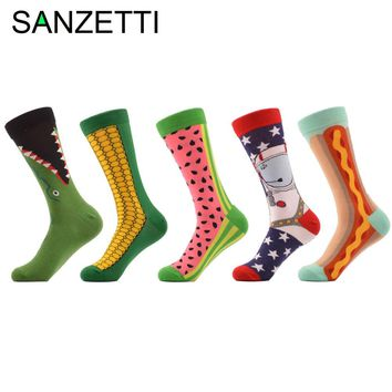 SANZETTI 5 pair/lot Men's Combed Cotton Socks Funny Pattern Corn Space Man Hot Dog Watermelon Novelty Socks Casual Crew Socks