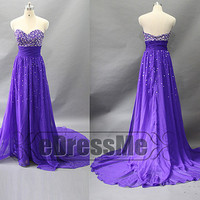 Purple Appliques sweetheart Long Prom Dress/ Princess Chiffon Prom Dress /Bridesmaid Dress/Evening Dress/Party Dresses e3015