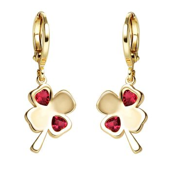Cute Four Leaf Clover Lucky Charms Gold-Tone Positive Energy Royal Red Crystal Amulet Earrings