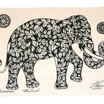 Elephant sketch Wall Hanging Batik ,hand painted silk silkscreen print on a natural cotton fabric. a Buddhist symbol of Stable, quiet Mind