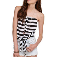 Kirra Striped Strapless Tie Front Tube Top at PacSun.com