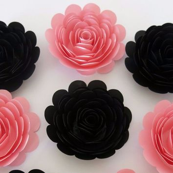 "Girl Birthday Party Decorations, 6 Pink and Black Roses, 3"" paper flowers, big floral wall decor, bridal shower supplies, unique gift ideas"
