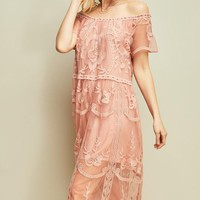 Off the Shoulder Lace Midi Dress - Blush