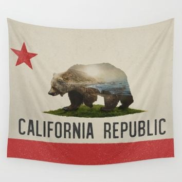 California Grizzly Bear Flag Wall Tapestry by Davies Babies