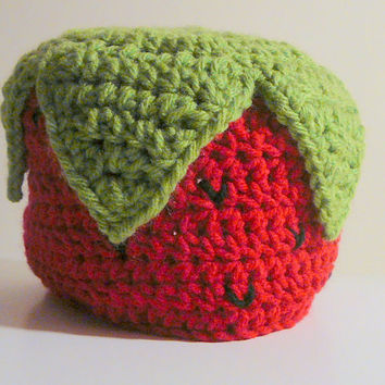 Strawberry Hat PDF Crochet Pattern - Newborn to Adult INSTANT DOWNLOAD