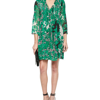 Women's Printed Pleated Silk Dress - Diane von Furstenberg - Toile collage gre