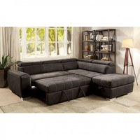 2 pc Lorna collection graphite fabric upholstered sectional sofa set with pull out bed base and storage