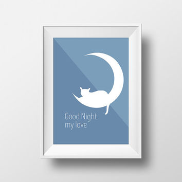 good night, room decor, baby gift ideas, illustration, downloadable print, nordic art, digital print, poster, cat, moon, downloadable art