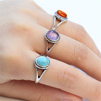 Fashion antique silver ring artificial turquoise ring imitation agate red purple stone ring for women A single sale