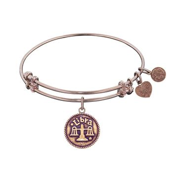 """Angelica Collection Antique Smooth Finish Brass """"libra""""- September Expandable Bangle"""