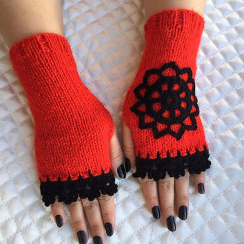 Knitted Fingerless Gloves, Red , Rose Embroidered, Accessories, Gloves&Mittens, Gift Ideas, Turkish handicrafst, Clothing and Accessories