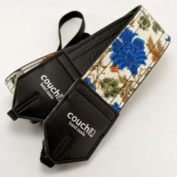 60's Vintage Flowers Camera Strap- Vintage 50 year old vinyl picked up in Cleveland OH USA Black Backing