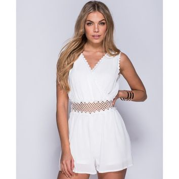 Plunge Neck Crochet Waist Playsuit
