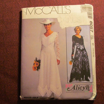 Sale Uncut 1996 McCall's sewing pattern, 8057! 12-14-16 Medium/Large/Women's/Misses/Country Western Cowgirl Bridal Gown/Wedding Dresses/Form