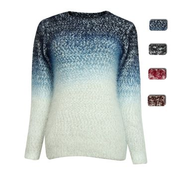 Dip Dye Color Gradient Chunky Knit Fluffy Jumper for Girls