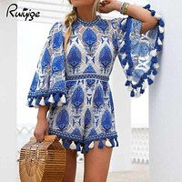 Ruiyige Summer 2017 Women Boho Jumpsuit Playsuits Embroidery Crochet Lace Tassel Beach Overalls Causal Hollow Out Tunic Romper