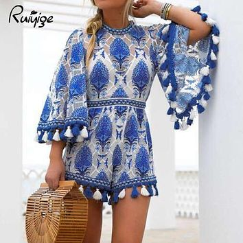 Ruiyige Summer  Women Boho Jumpsuit Playsuits Embroidery Crochet Lace Tassel Beach Overalls Causal Hollow Out Tunic Romper