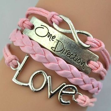 One Direction Infinity Love Hand-knitted Leather Charm Chain Bracelet PK
