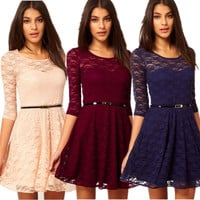 Sleeved Lace Skater Dress