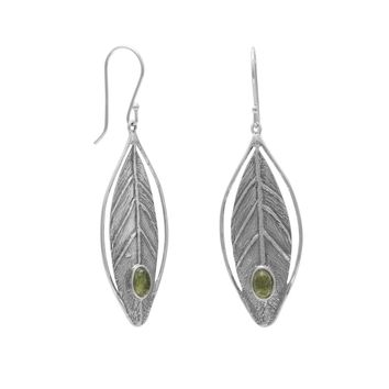 Leaf Design Earrings with Peridot