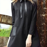 Black Self-tie Collar Shirt Dress with Patch Pocket