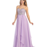 Lilac Chiffon & Beaded Filigree Strapless Gown Prom 2015