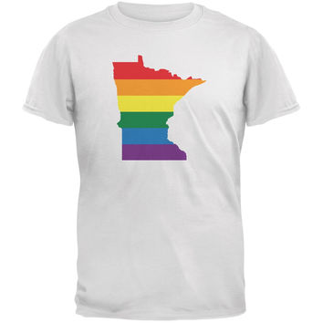 Minnesota LGBT Gay Pride Rainbow White Adult T-Shirt