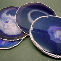 Lovely Purple Agate Coasters - Extra LargeAgate Slices with Druzy Crysal Center and Sterling Silver Electroplated Edges- SET of 4 (RK2B9-08)