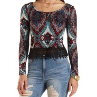 Lace Trim Medallion Print Crop Top by Charlotte Russe