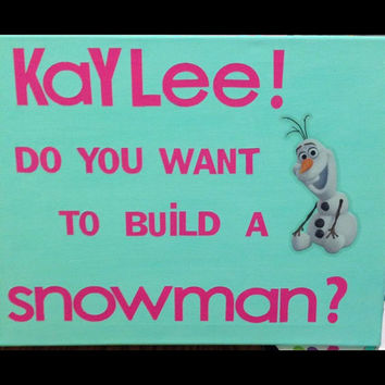 Frozen insprired wall decor for childrens room, wall hangings, kids rooms, olaf decor, blue and pink