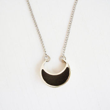 Moon Pendant in Ebony and Sterling Silver with Silver plated chain - Moon Necklace - Black and Silver