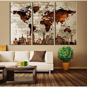 Watercolor World Map Canvas Print Large World Map Wall Art Brown World Map