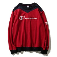 Champion New Fashion Women Men Loose Color Matching Embroidery Couple Sweater Top Sweatshirt Red I13828-1