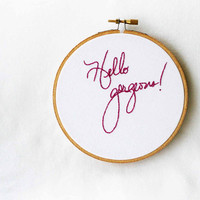 Pink embroidery art / hello gorgeous / hoop home decor / white background / humor gift / 5 inch size