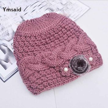 Ymsaid 2017 Winter New Classic Fur Flower Thick Brim Hat Ladies Knitted Hats  Fall Female Hat knit Caps Beanie