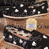RubiiShoos Original  Dental Toothy Toms for any dentist / dental assistant hygienist on black canvas toms
