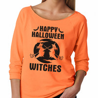Neon Orange Happy Halloween Witches Raglan