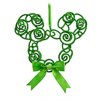 Mickey Mouse Filigree Wreath Ornament - Green