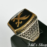 Authentic Turkish Ottoman Style Handmade 925 Sterling Silver Ring For Men With Zulfiqar Figure.