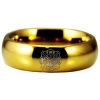 Gold Tungsten Slim Firefighter's Ring