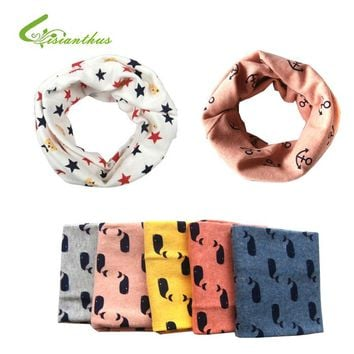 Kid Scarf Boys Girls Autumn Winter Scarves Sailing, Anchor, Whale Pattern Cotton Neck Warmer Children Baby Accessories Free Ship