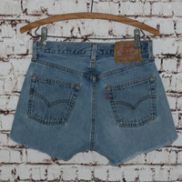 "High Waist Denim Shorts Levis 501 28"" cut offs Light Wash Distressed grunge festival boho hipster gypsy Frayed Fringe Jeans M 8 6"