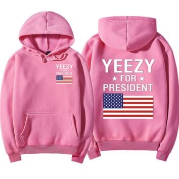 """YEEZY""Fashion loose leisure hooded print sweater Pink"