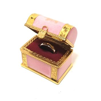 Chest Pink & Gold Incrustation Ring Box Numbered 1 of 500 First One Painted - Retired Rare Limoges Box