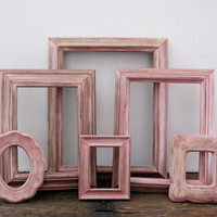 Shabby Chic Picture Frame Set Of 6 Open/Empty Pink Nursery Wall Art