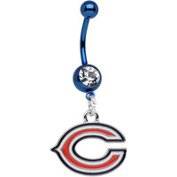Officially Licensed NFL Clear Gem Blue Chicago Bears Dangle Belly Ring