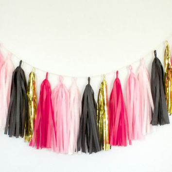 Hot Pink, Black and Gold Tassel Garland - Hot Pink Party Decor, Hot Pink Bachelorette, Hot Pink Nursery, Bridal Shower, Hot Pink Baby Shower